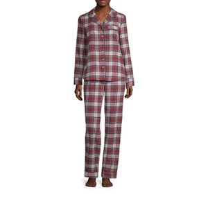 NWT Liz Claiborne Notch Collar Flannel Pajama Set